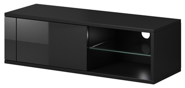 TV galds Vivaldi Meble Best Black/Black Gloss, 1000x358x305 mm