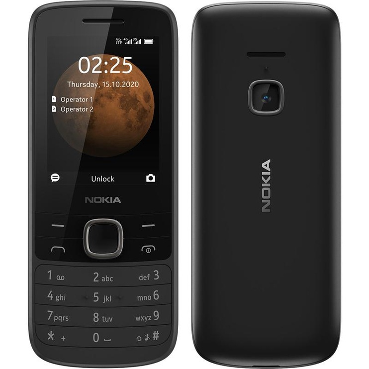 Mobilusis telefonas Nokia 225 4G, juodas, 64MB/128MB