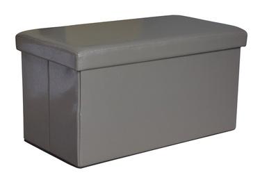 Pufas su daiktadėže, pilkas, 76.5 x 40.5 x 40.5 cm