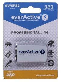 EverActive Professional Line Rechargeable Batteries 6F22 9V 320mAh