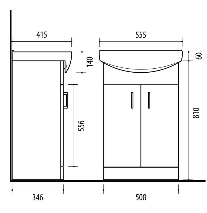Vonios spintelė su praustuvu Riva SA55-4, balta