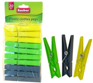 Sauber Laundry Pegs Plastic 20PCS Green/Yellow/Grey