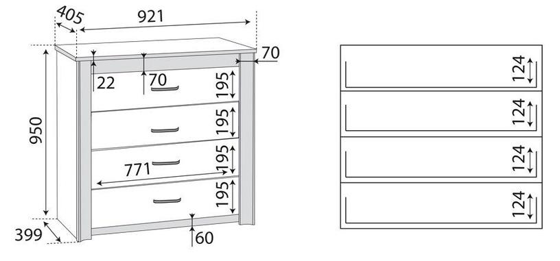 ML Meble Oliwier 12 Chest Of Drawers Sonoma Oak/Wenge