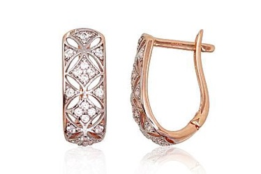 Diamond Sky 14K Red Gold Earrings Princess Solid Gold 585