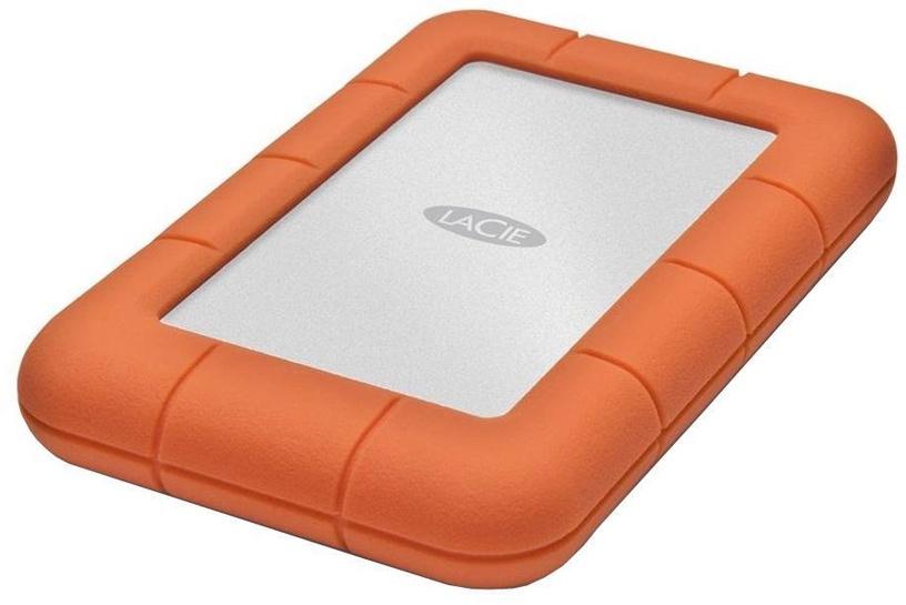 Жесткий диск Lacie Rugged Mini, HDD, 1 TB, серебристый/oранжевый