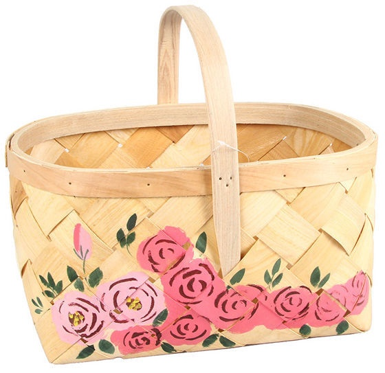 Verners Wood Basket 39x26x20 With Flowers