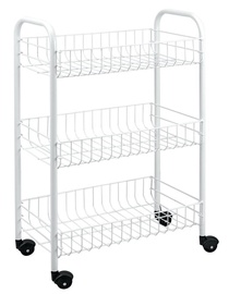 Metaltex Slim Three Stage Rolling Cart 56x23x84cm