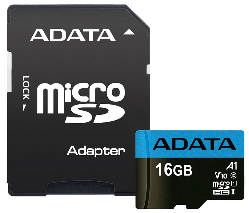 Adata 16GB Micro SDHC Premier UHS-I A1 V10 Class 10 + Adapter