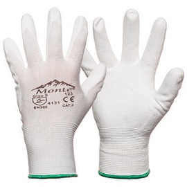 Monte Nylon Knitted Gloves With PU White 7