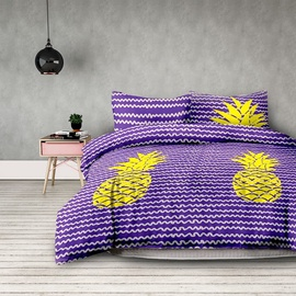 Gultas veļas komplekts AmeliaHome Basic Pineapple, dzeltena/violeta, 135x200/80x80 cm