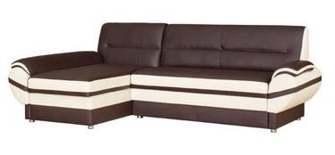 Bodzio Livonia Left Corner Folding Sofa Eco Leather Brown/Cream