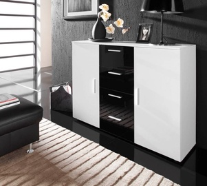 Cama Meble Uni Chest Of Drawers White/White/Black Gloss