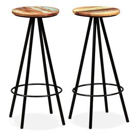 Барный стул VLX Bar Stools Solid Reclaimed Wood, коричневый/черный, 2 шт.