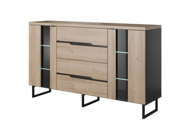 Idzczak Meble Luna 04 Chest Of Drawers 160 Black Matt/Grandon Oak
