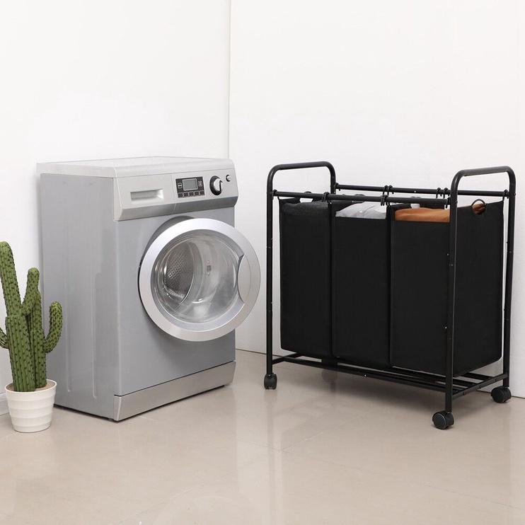 Songmics Laundry Cart 3 Bags Black