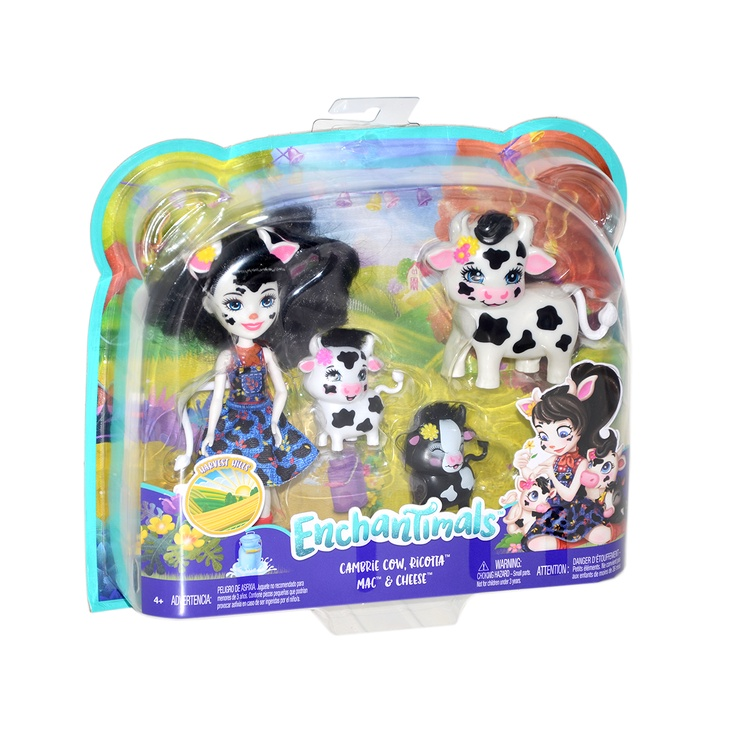 Lelle Mattel Enchantimals Cambrie Cow Doll With Ricotta Family