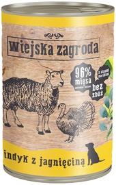 Влажный корм для собак (консервы) Wiejska Zagroda Dog Wet Food Turkey & Lamb 400g
