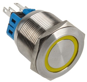 DimasTech Switch Push Button 25mm Silverline Yellow