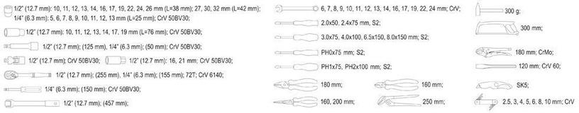 Yato YT-38911 Tool Set 1/4'' 1/2'' 79pcs