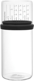 Brabantia 290282 Glass Storage Jar with Measuring Cup 1l Dark Grey
