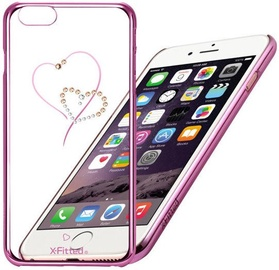 X-Fitted Hearts Swarovski Crystals Back Case For Apple iPhone 6/6s Pink