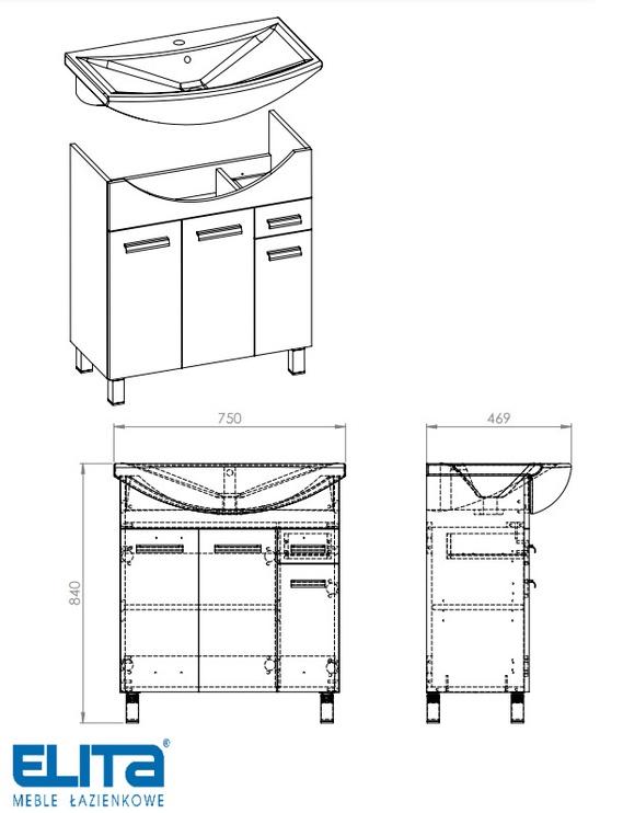 Шкаф для раковины Elita Cabinet With Sink Eve 167053+145475 White