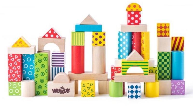 Woody Colored Building Blocks In Bucket 50pcs 90906