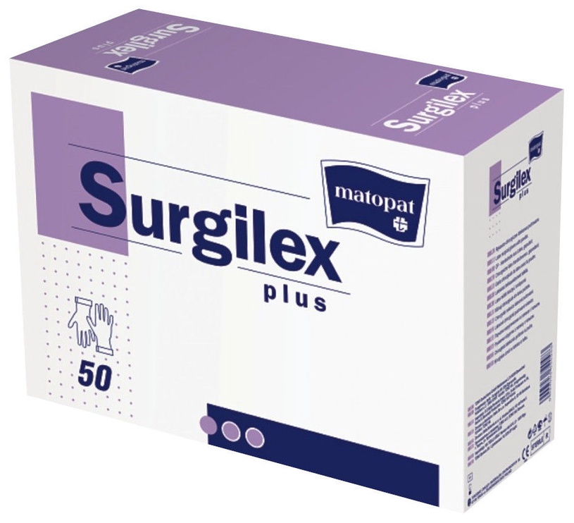 Перчатки латексные Matopat Surgilex Plus с тальком, размер 6.5, 50 шт.