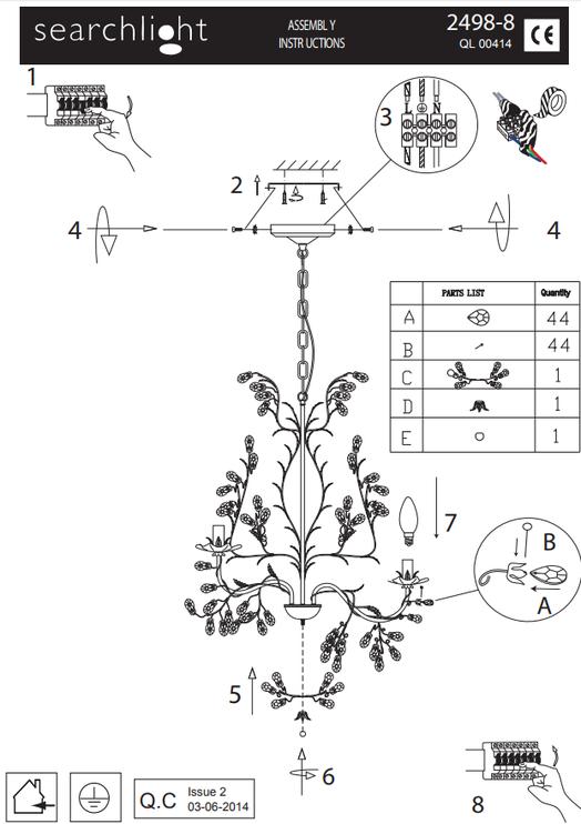 Lustra Searchlight Almandite 2498-8CR, 8x40W