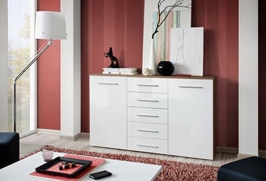 Komoda ASM Galino Fox Plum/White Gloss Front, 150x40x103 cm