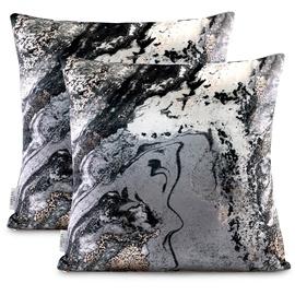 AmeliaHome Nancy Pillowcase 45x45 Black/Gold 2pcs
