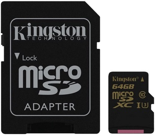 Kingston SDCG Series 64GB microSDXC UHS-I Class U3 + SD Adapter