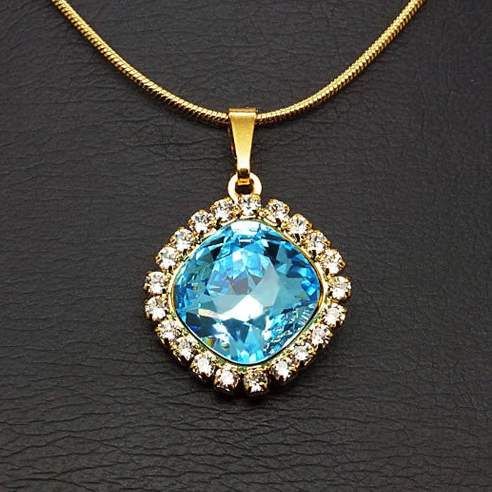 Diamond Sky Pendant Glare III Aqua With Swarovski Crystals