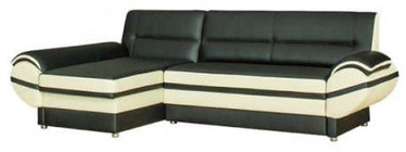 Bodzio Livonia Left Corner Folding Sofa Eco Leather Black/Pearl White