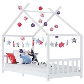 Детская кровать VLX Solid Pine Wood 283367, белый, 146x78 см