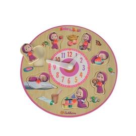 Lavinamasis žaislas Maša ir Lokys, laikrodis, medinis