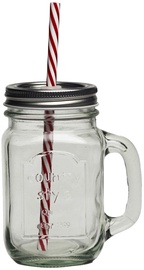 Arkolat Smoothie Jar With Straw 450ml Silver Lid