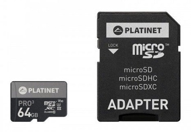 Platinet 64GB microSDHC UHS-III 615x With SD Adapter