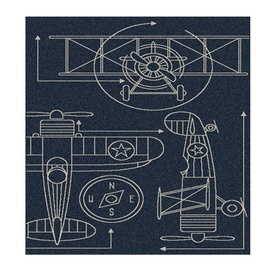 Paklājs Domoletti Lineo lin7791, zila/daudzkrāsains, 150x80 cm