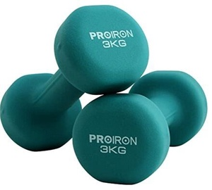 ProIron Neoprene Dumbbell Set Dark Green 2x3kg