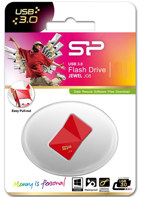 USB atmintinė Silicon Power Jewel J08 Red, USB 3.0, 16 GB