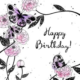 Clear Creations Butterflies & Peonies Birthday Card CL2506