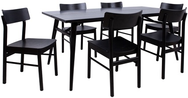 Odense Dining Table Set 6 Chairs Black