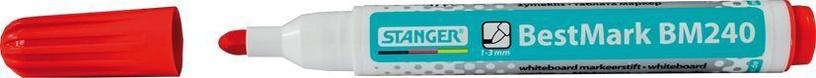 Baltās tāfeles marķieris Stanger BestMark BM240 Whiteboard Marker 10pcs Red 321031