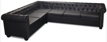 Угловой диван VLX Chesterfield 243617, черный, 260 x 205 x 37 см