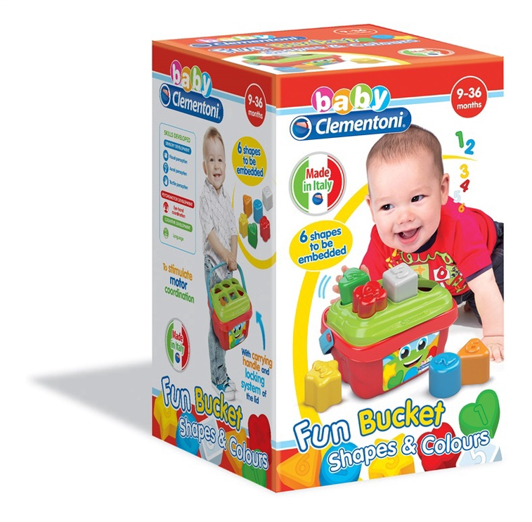 Lavinamasis žaislas Clementoni Baby Fun Bucket Shapes & Colours 17106