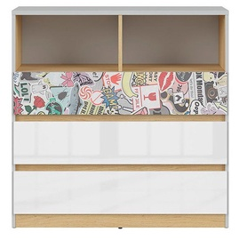 Black Red White Nandu Chest Of Drawers 90x91x39cm Gray/Oak/White/Sticker