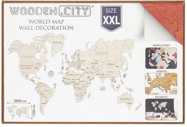 Wooden City Puzzle World Map XXL Red 110pcs
