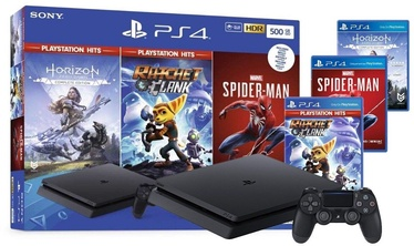 Sony Playstation 4 (PS4) Slim 500GB Black + Spider Man + Horizon Zero Dawn CE + Rachet and Clank