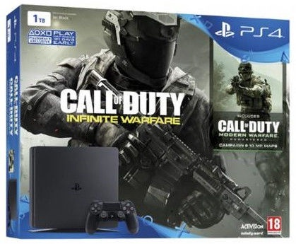 Sony Playstation 4 Slim 1TB (PS4) Black + 2 Dualshock Controller + Call of Duty: Modern Warfare